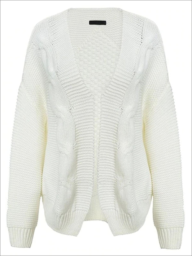 Womens Fall Twist Knitted Casual Cardigan - White / One Size - Womens Fall Outerwear