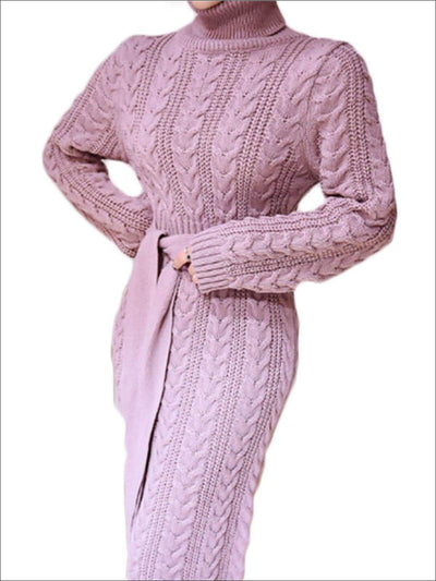 Womens Fashion Cable Knit Bodycon Sweater Dress - Pink / One Size - Womens Fall Dresses