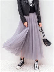 Womens Fashion Elastic High Waist Tulle Skirt - Womens Bottoms