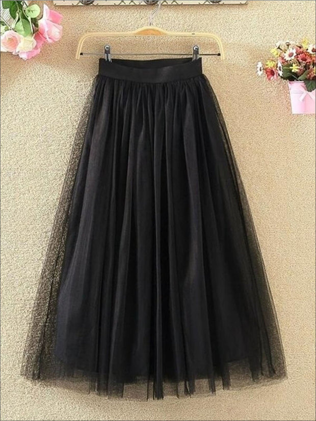 Womens Fashion Elastic High Waist Tulle Skirt - Black / XS - Womens Bottoms