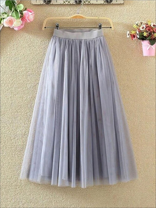 Womens Fashion Elastic High Waist Tulle Skirt - Gray / XS - Womens Bottoms