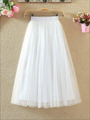Womens Fashion Elastic High Waist Tulle Skirt - White / XS - Womens Bottoms