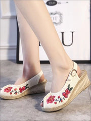 Womens Fashion Embroidered Canvas Wedges (Multi Color Options) - Beige Floral / 4 - Womens Shoes