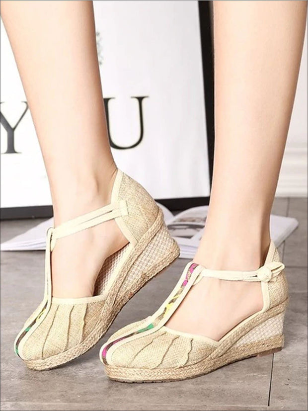 Womens Fashion Embroidered Canvas Wedges (Multi Color Options) - Beige T-strap / 4 - Womens Shoes