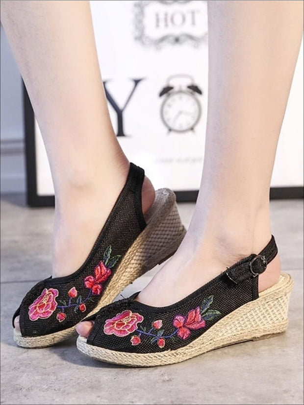 Womens Fashion Embroidered Canvas Wedges (Multi Color Options) - Black Floral / 4 - Womens Shoes
