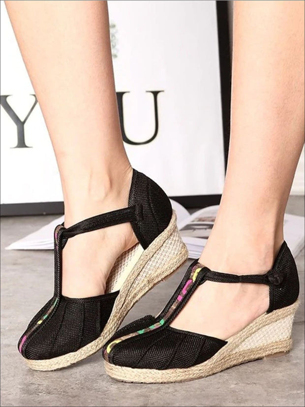 Womens Fashion Embroidered Canvas Wedges (Multi Color Options) - Black T-strap / 4 - Womens Shoes