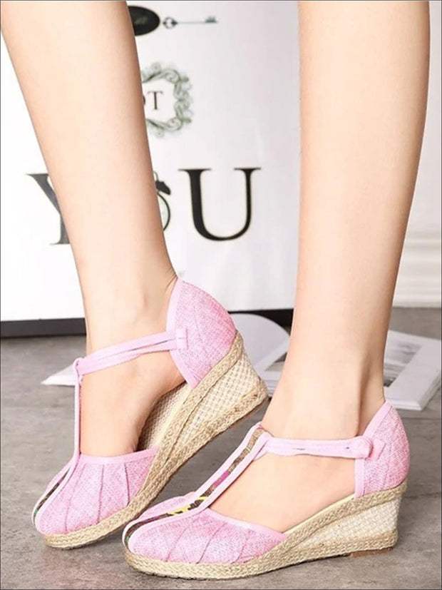 Womens Fashion Embroidered Canvas Wedges (Multi Color Options) - Pink T-strap / 4 - Womens Shoes