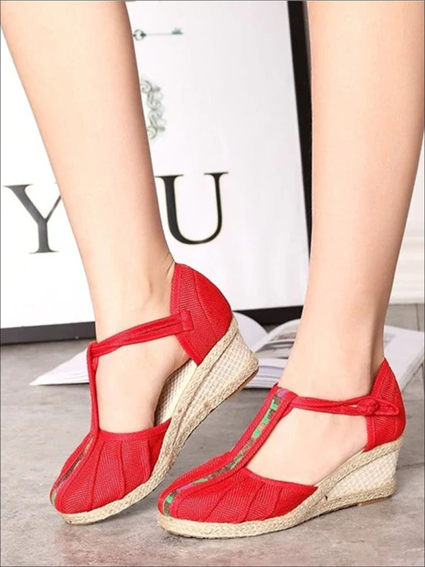 Womens Fashion Embroidered Canvas Wedges (Multi Color Options) - Red T-strap / 4 - Womens Shoes