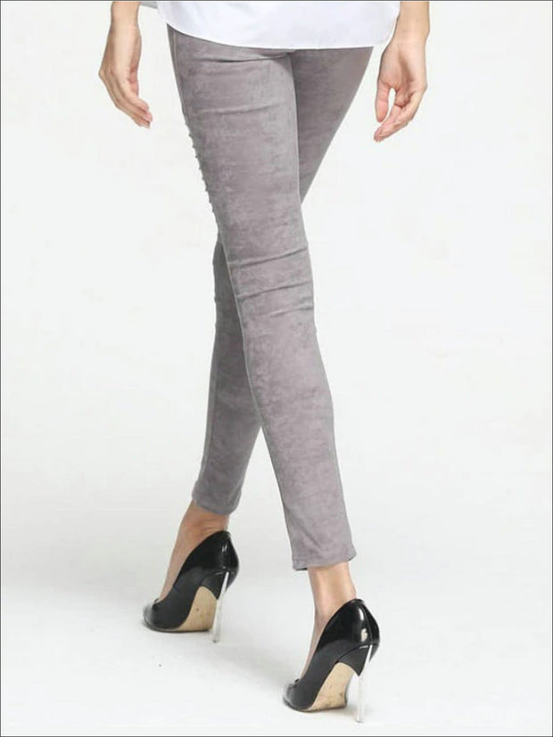 Womens Fashion Faux Suede Moto Pants - Womens Bottoms