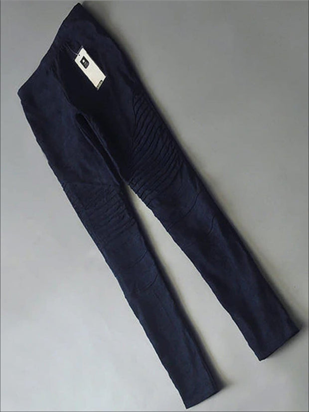 Womens Fashion Faux Suede Moto Pants - Blue / XS - Womens Bottoms