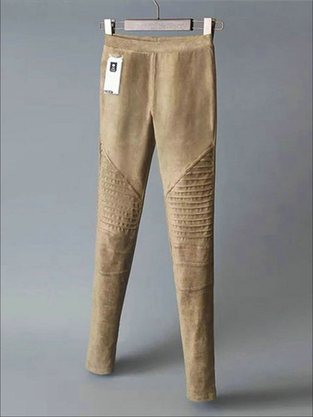 Womens Fashion Faux Suede Moto Pants - Brown / XS - Womens Bottoms