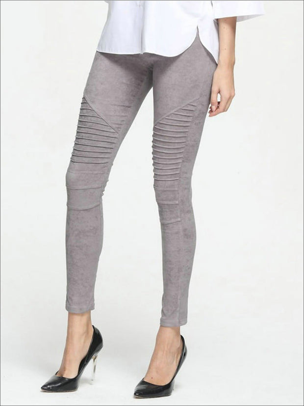 Womens Fashion Faux Suede Moto Pants - Grey / XS - Womens Bottoms
