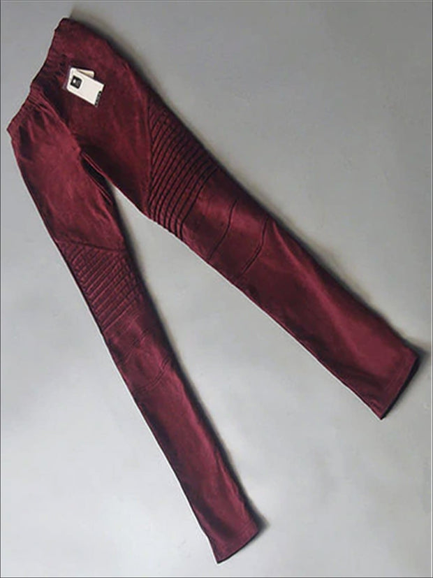 Womens Fashion Faux Suede Moto Pants - Red / XS - Womens Bottoms