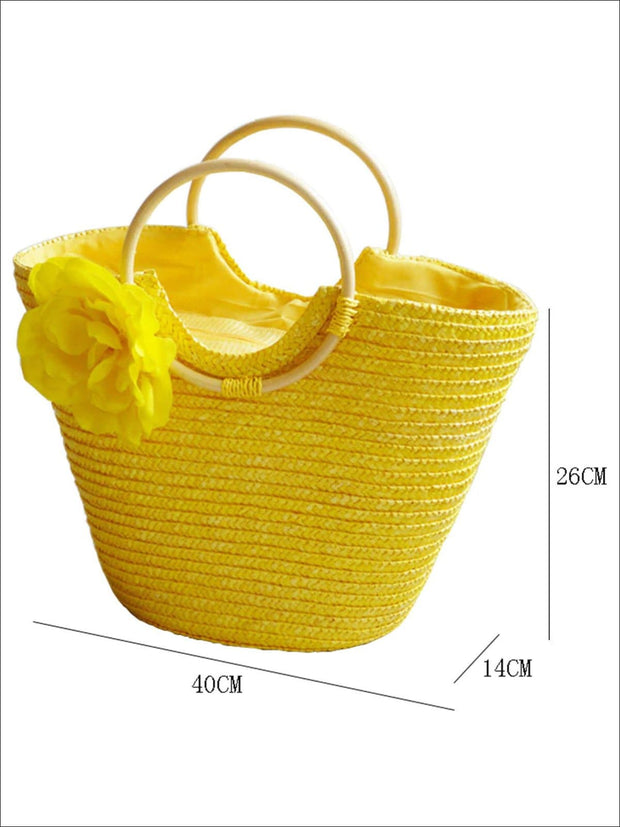 Womens Fashion Flower Embellished Bohemian Handbag - Womens Accessories