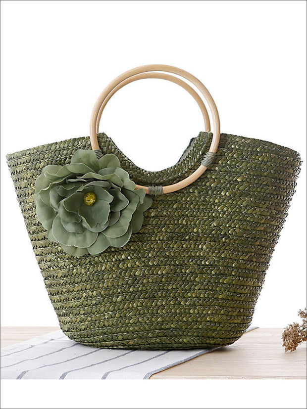 Womens Fashion Flower Embellished Bohemian Handbag - Green - Womens Accessories