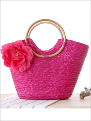 Womens Fashion Flower Embellished Bohemian Handbag - Pink - Womens Accessories