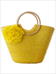 Womens Fashion Flower Embellished Bohemian Handbag - Yellow - Womens Accessories