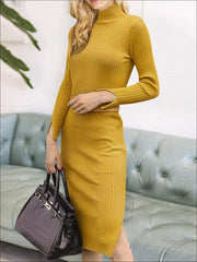 Womens Fashion Knit Bodycon Belted Sweater Dress - Womens Fall Dresses
