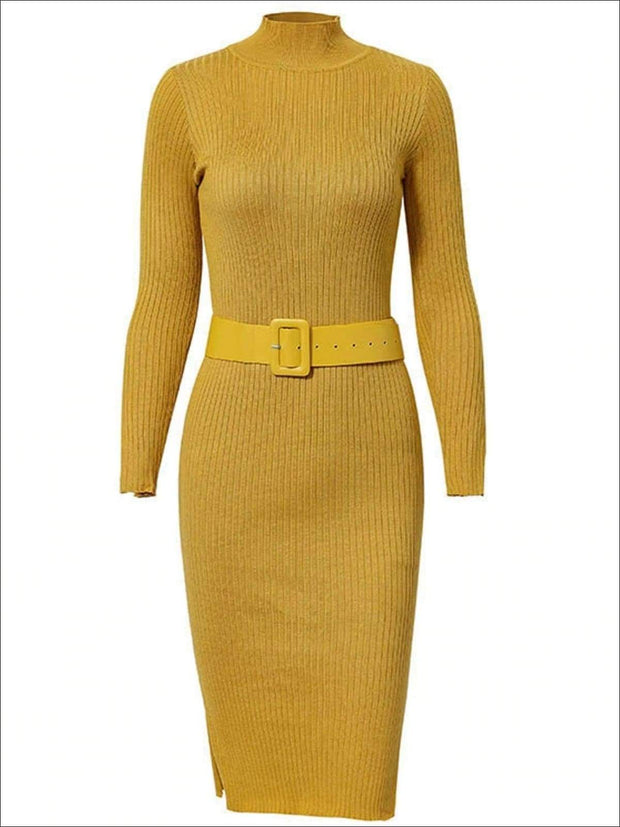 Womens Fashion Knit Bodycon Belted Sweater Dress - Yellow / One Size - Womens Fall Dresses