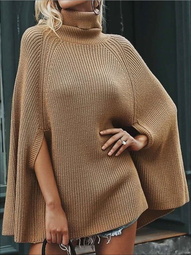 Womens Fashion Knit Casual Cloak Sweater - Womens Fall Outerwear