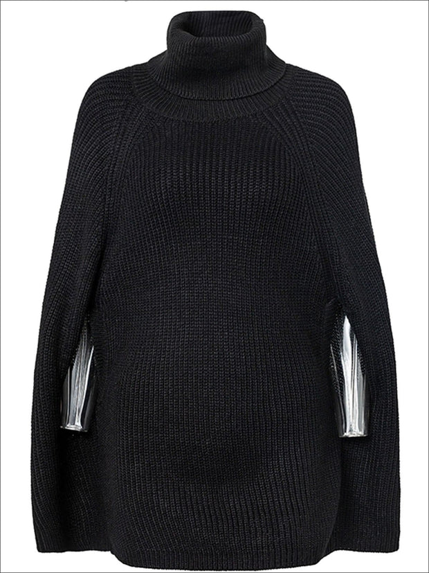 Womens Fashion Knit Casual Cloak Sweater - Black / One Size - Womens Fall Outerwear
