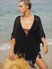 Womens Fashion Knit Lace Up Fringe Cover-Up - Black / One Size - Womens Swimsuit
