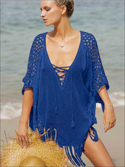 Womens Fashion Knit Lace Up Fringe Cover-Up - Blue / One Size - Womens Swimsuit