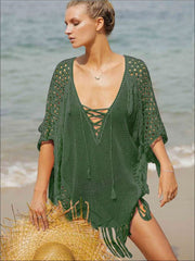 Womens Fashion Knit Lace Up Fringe Cover-Up - Green / One Size - Womens Swimsuit