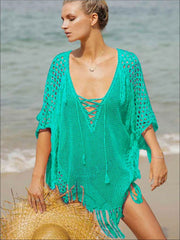 Womens Fashion Knit Lace Up Fringe Cover-Up - Mint / One Size - Womens Swimsuit