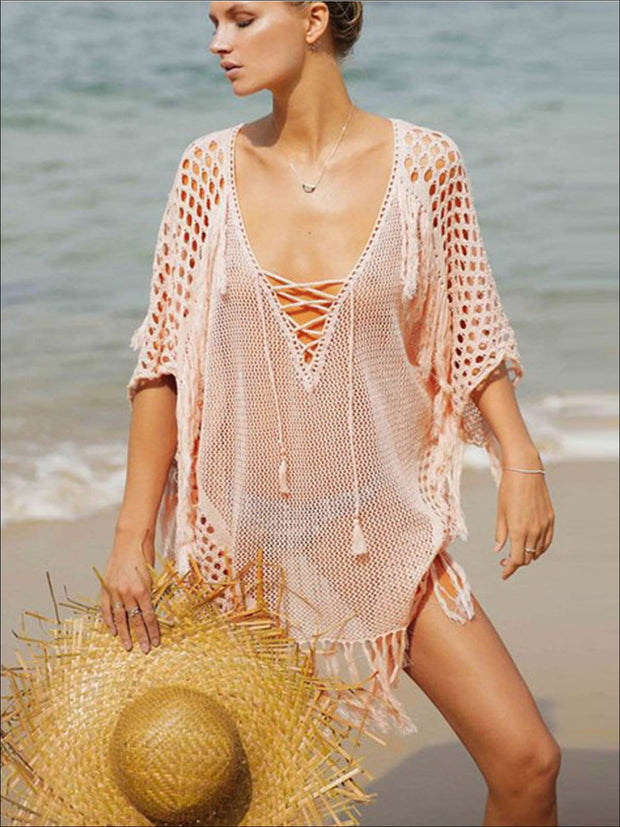 Womens Fashion Knit Lace Up Fringe Cover-Up - Pink / One Size - Womens Swimsuit