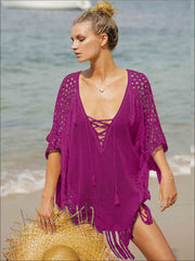 Womens Fashion Knit Lace Up Fringe Cover-Up - Purple / One Size - Womens Swimsuit