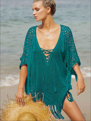 Womens Fashion Knit Lace Up Fringe Cover-Up - Sea Green / One Size - Womens Swimsuit