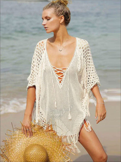 Womens Fashion Knit Lace Up Fringe Cover-Up - White / One Size - Womens Swimsuit