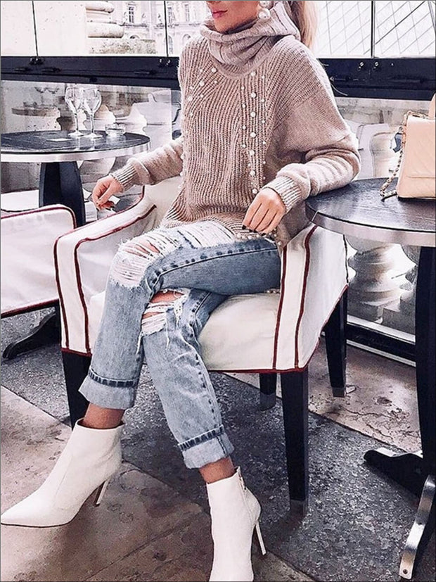 Womens Fashion Knit Pearl Embellished Hi-Lo Sweater - Womens Fall Sweaters