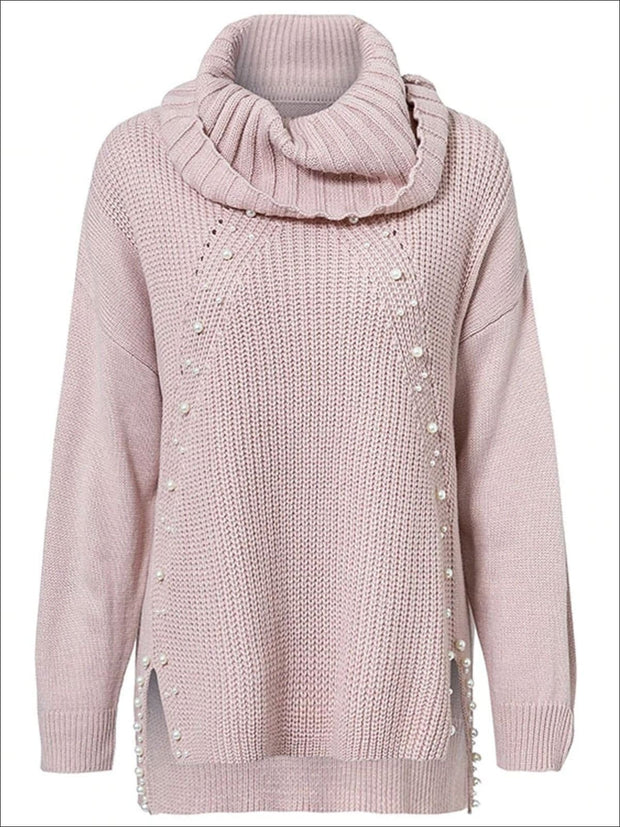 Womens Fashion Knit Pearl Embellished Hi-Lo Sweater - Pink / One Size - Womens Fall Sweaters