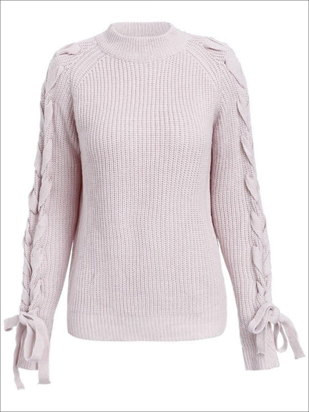 Womens Fashion Lace Up Cozy Knitted Sweater - Pink / One Size - Womens Fall Sweaters