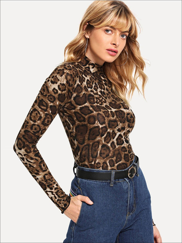 Womens Fashion Leopard Print Long Sleeve Blouse - Womens Tops