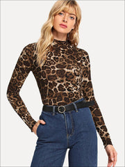 Womens Fashion Leopard Print Long Sleeve Blouse - Brown / XS - Womens Tops