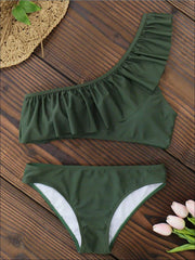 Womens Fashion One Shoulder Ruffle Chic Two Piece Swimsuit - Green / S - Womens Swimsuit