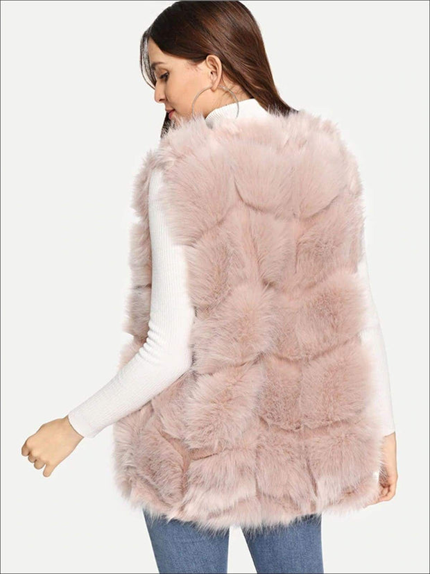 Womens Fashion Open Front Deluxe Faux Fur Vest - Womens Fall Outerwear