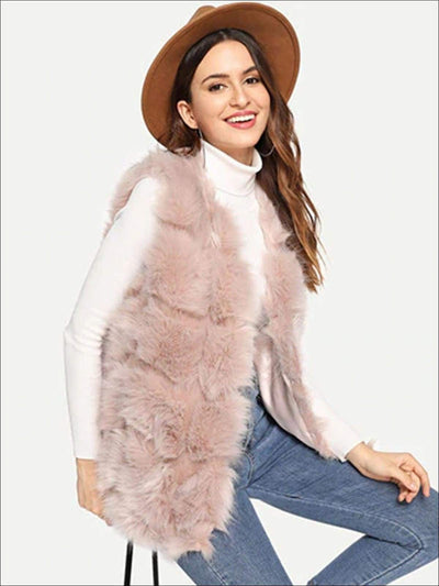 Womens Fashion Open Front Deluxe Faux Fur Vest - Pink / S/M - Womens Fall Outerwear