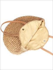 Womens Fashion Oversized Bohemian Straw Shoulder Bag - Womens Accessories