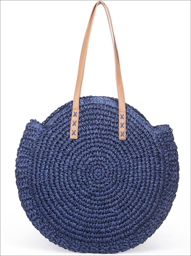 Womens Fashion Oversized Bohemian Straw Shoulder Bag - Blue - Womens Accessories