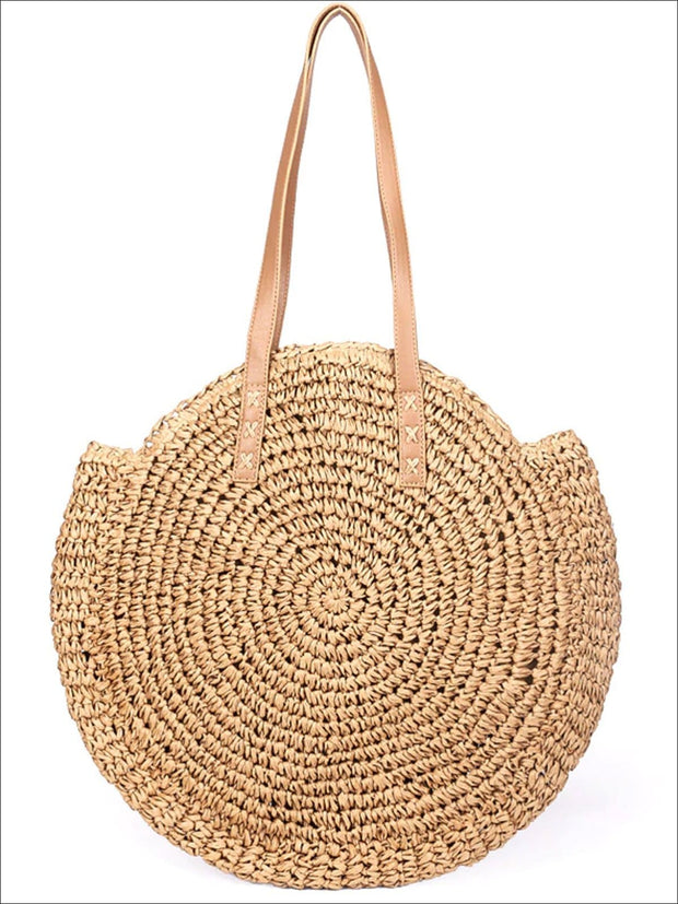 Womens Fashion Oversized Bohemian Straw Shoulder Bag - Brown - Womens Accessories