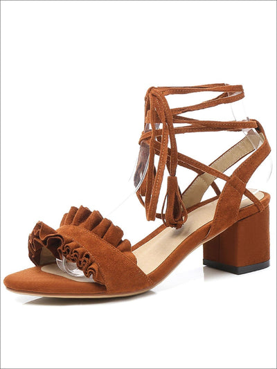 Womens Fashion Ruffled Lace Up Block Heel Sandals - Womens Sandals