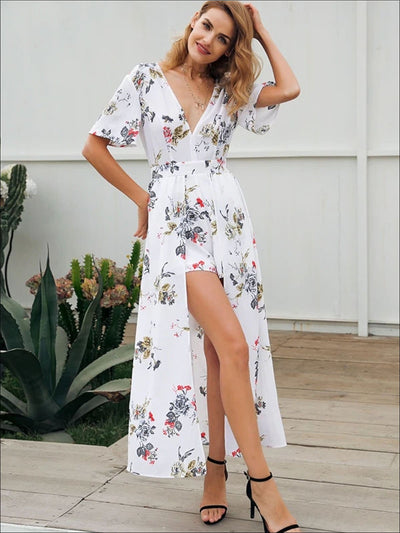 Womens Fashion Split Front Overlay Backless Jumpsuit - Womens Jumpsuits