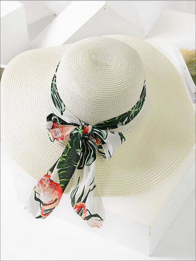 Womens Fashion Straw Hat With Printed Ribbon - White - Womens Accessories