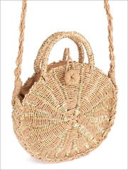 Womens Fashion Straw Knitted Retro Chic Summer Bag - Gold - Womens Accessories