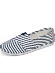 Womens Fashion Striped Canvas Shoes By Liv and Mia - Blue / 5.5 - Womens Flats