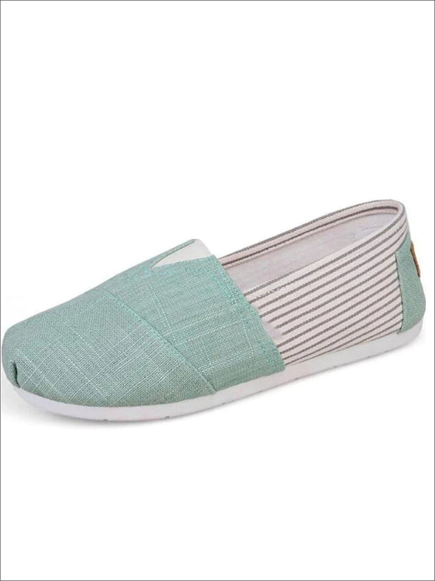 Womens Fashion Striped Canvas Shoes By Liv and Mia - Green / 5.5 - Womens Flats